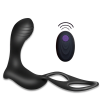 Vibrating Prostate Massager with Penis&Ball Ring for Triple Stimulation,10 Vibration Modes Anal Sex Toy Remote Vibrator for Men